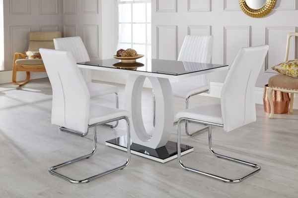 Well Known White Glass Dining Tables And Chairs Throughout Giovani Black & White High Gloss Dining Table Set – Free Delivery (View 13 of 20)