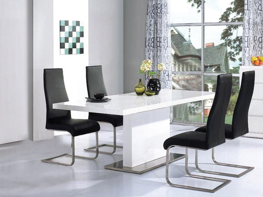 Well Known White Gloss Dining Tables 120cm Throughout High Gloss White Dining Table With 4 Chairs Set – Homegenies (View 16 of 20)