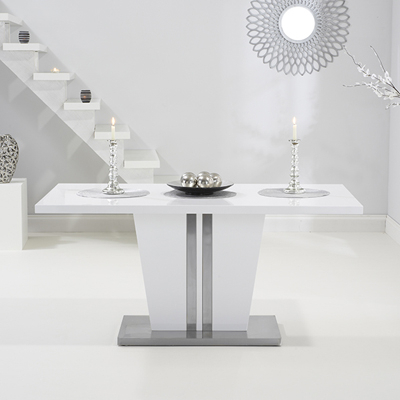 Well Known White High Gloss Dining Tables 6 Chairs Inside Vegas High Gloss White Dining Table With 6 Milan Grey Chairs (View 20 of 20)