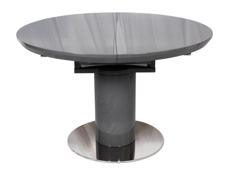 Well Known White High Gloss Oval Dining Tables With Romeo Round Grey High Gloss Extending Dining Table – Modish Furnishing (View 18 of 20)