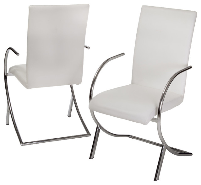 Well Known White Leather Dining Chairs Pertaining To Prima Leather Side Chairs, Set Of 2 – Contemporary – Dining Chairs (View 16 of 20)