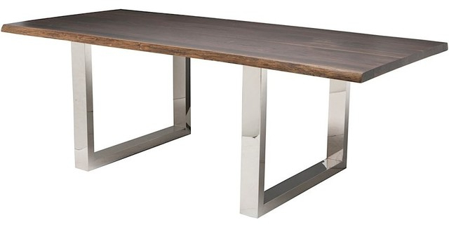 Well Known Zinnia Industrial Brown Oak Stainless Steel Dining Table – 78w Regarding Lyon Dining Tables (View 4 of 20)