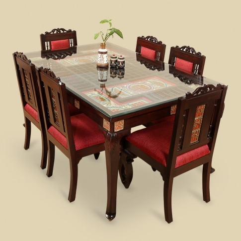 Well Liked 6 Seater Dining Tables Inside Teak Wood 6 Seater Dining Table & Chair With Warli & Dhokra Work (View 8 of 20)