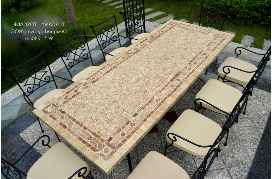 """Well Liked 78"""" Outdoor Patio Dining Table Italian Mosaic Stone Marble – Tuscany Intended For Mosaic Dining Tables For Sale (View 6 of 20)"""