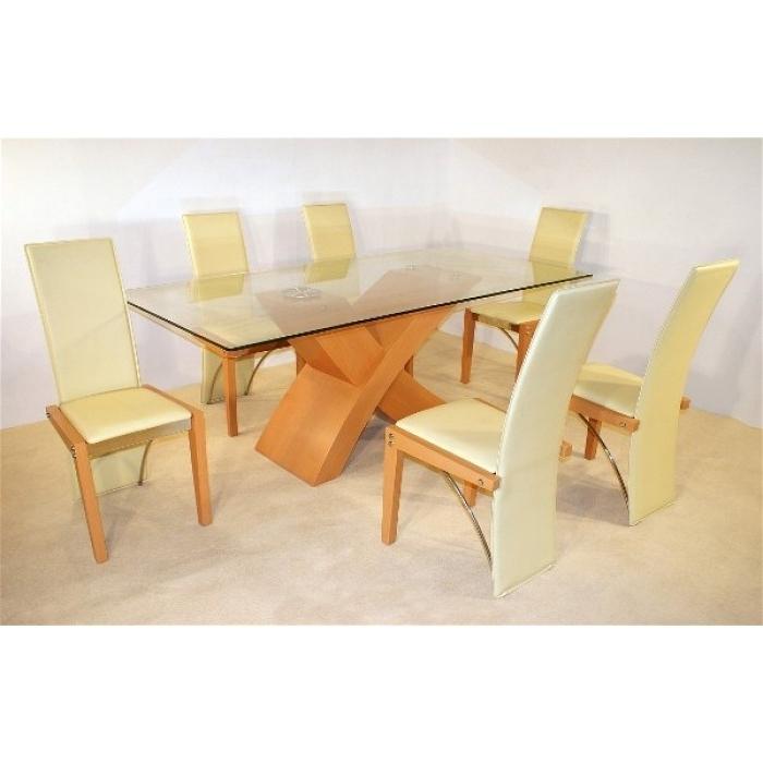 Well Liked Arizona Beech Dining Table + 6 Chairs Throughout Beech Dining Tables And Chairs (View 19 of 20)