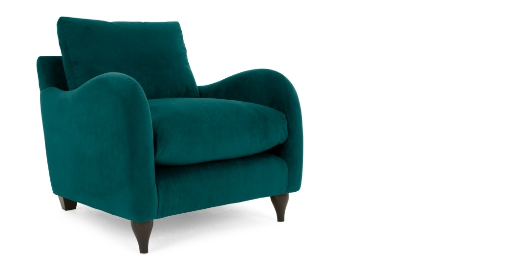 Well Liked Armchair In Plush Mallard Velvet, Sofia (View 19 of 20)