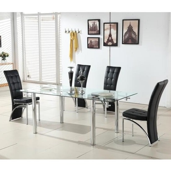 Well Liked Black Glass Extending Dining Tables 6 Chairs Regarding Alicia Extending Glass Dining Table With 6 Ravenna Black (View 19 of 20)
