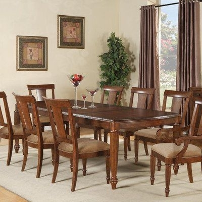 Well Liked Brendon 9 Piece Rectangular Dining Table Set In Hazelnut/cabernet Within Caira 7 Piece Rectangular Dining Sets With Upholstered Side Chairs (View 20 of 20)