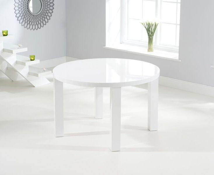 Well Liked Buy Nikita Round White Gloss Dining Table 120Cm In White Gloss Dining Furniture (Gallery 14 of 20)