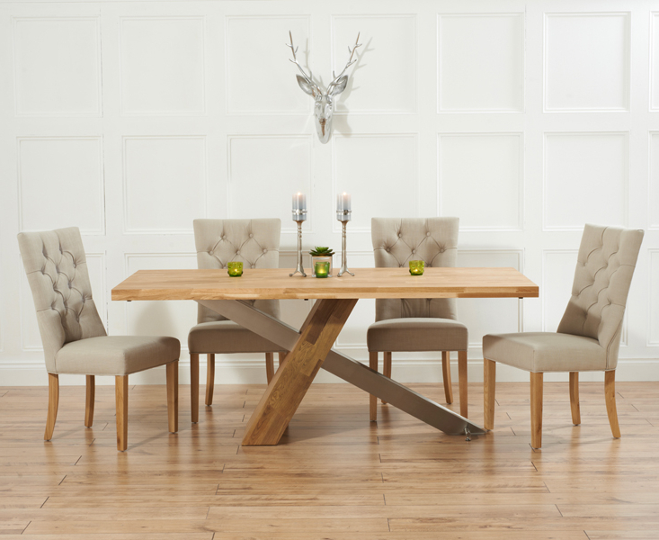 Well Liked Chateau 180cm Solid Oak And Metal Dining Table With Anais Fabric Chairs With Dining Tables And Fabric Chairs (View 14 of 20)
