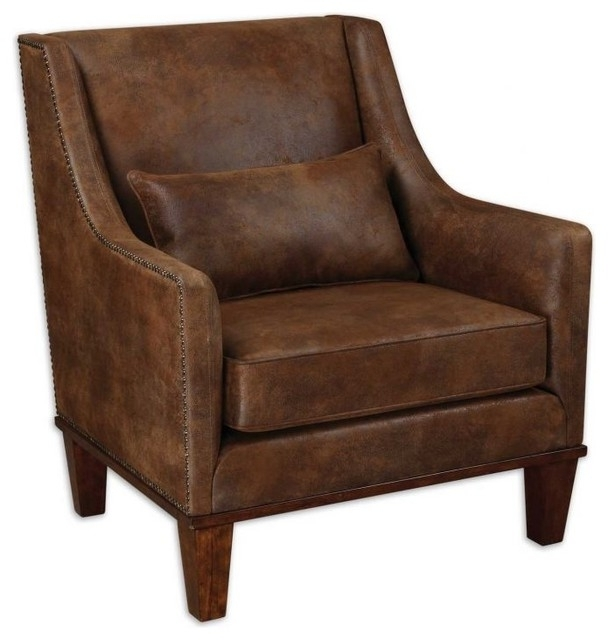 Well Liked Clay Side Chairs With Regard To Clay Rustic Leather Look Arm Chair Rustic Armchairs Vintage Leather (View 19 of 20)