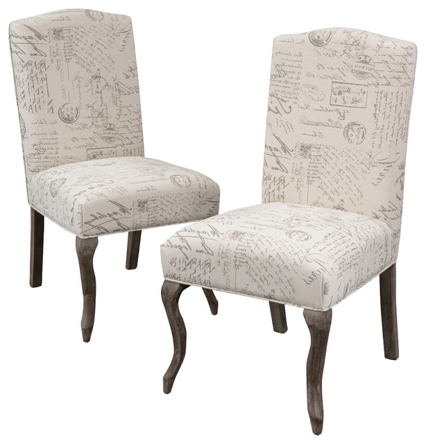 Well Liked Crown Back French Script Beige Fabric Dining Chairs, Set Of 2 Inside Fabric Dining Chairs (View 19 of 20)