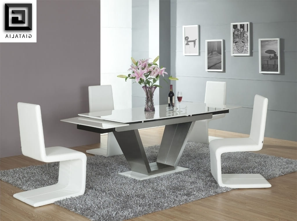 Well Liked Dining Room: Marvelous White Rectangle Glass Dining Room Tables With With Regard To Contemporary Dining Room Tables And Chairs (View 20 of 20)