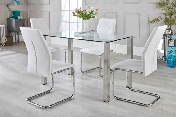 Well Liked Dining Table Chair Sets Inside Salerno Dining Table & White Chairs Set – Free Delivery (View 11 of 20)