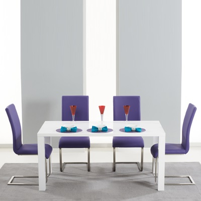 Well Liked Dining Tables And Purple Chairs For Harvey 160cm High Gloss White Dining Table With 4 Milan Purple (View 7 of 20)