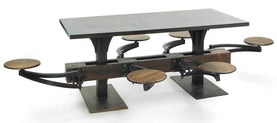 Well Liked Dining Tables With Attached Stools Within Lunchroom Dining Table – Phag (View 16 of 20)