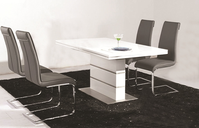Well Liked Dolores High Gloss Dining Table 4 Faux Leather Chrome Chairs In Gloss Dining Tables (View 11 of 20)
