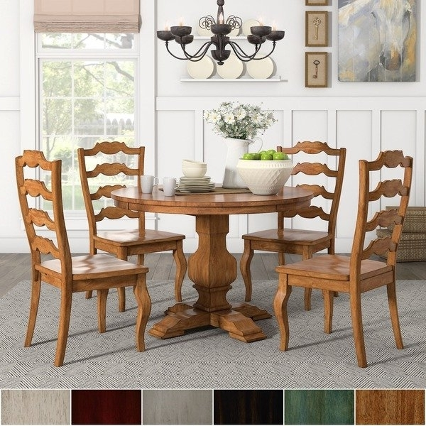 Well Liked Eleanor Oak Round Soild Wood Top Ladder Back 5 Piece Dining Set Regarding Caden 7 Piece Dining Sets With Upholstered Side Chair (View 10 of 20)