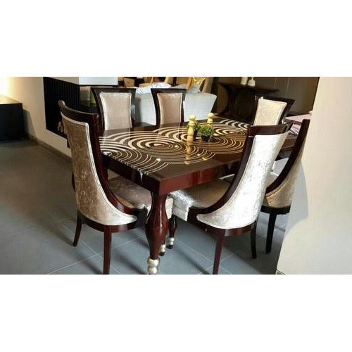 Well Liked Elegant Lecoured Glass Top Dining Table 6 Seater Dining Table, Rs Regarding Glass 6 Seater Dining Tables (View 17 of 20)