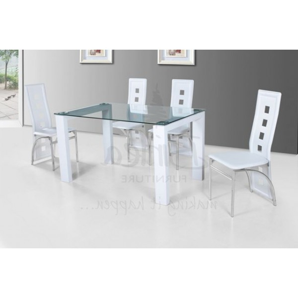 Well Liked Glass And White Gloss Dining Tables Throughout Cheap Birlea Finchley Glass And White High Glossdining Table Set For (View 16 of 20)