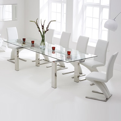 Well Liked Glass Dining Tables White Chairs Throughout Lunar Glass Extending Dining Table With 8 Harvey White Chairs (View 20 of 20)