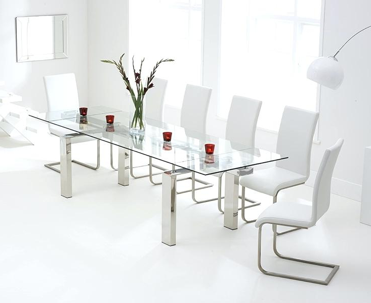 Well Liked Glass Extendable Dining Tables And 6 Chairs Within White Glass Dining Table Extending Extending Glass Dining Table With (Gallery 13 of 20)
