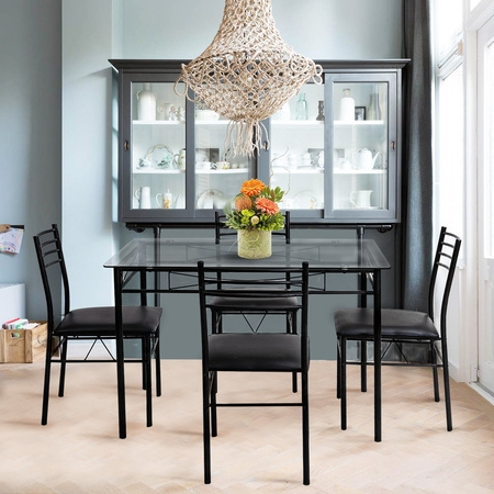 Well Liked Gymax Piece Dining Set Glass Top Table Upholstered Chairs With With Jaxon Grey 5 Piece Round Extension Dining Sets With Wood Chairs (View 20 of 20)