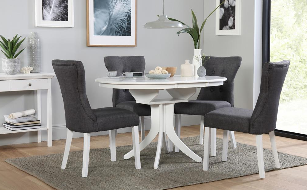 Well Liked Hudson Round White Extending Dining Table With 4 Bewley Slate Chairs With White Extendable Dining Tables And Chairs (View 8 of 20)