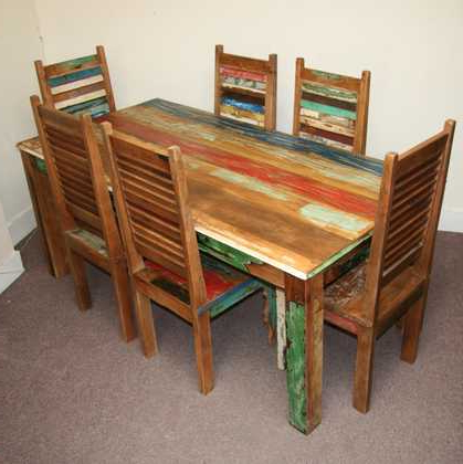 Well Liked Indian Style Dining Tables Inside Reclaimed Dining Table And 6 Shutter Style Chairs – Jugs (View 18 of 20)
