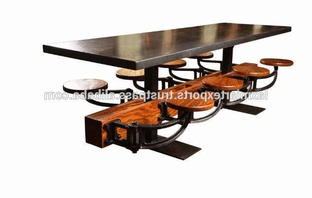Well Liked Industrial Dining Table With Attached 8 Eight Swinging Stools In Dining Tables With Attached Stools (View 17 of 20)