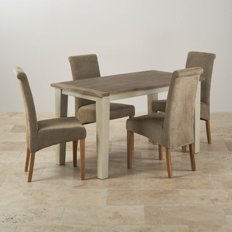 Well Liked Isabella Brushed Acacia Dining Set – 4Ft Table With 4 Chairs (View 19 of 20)
