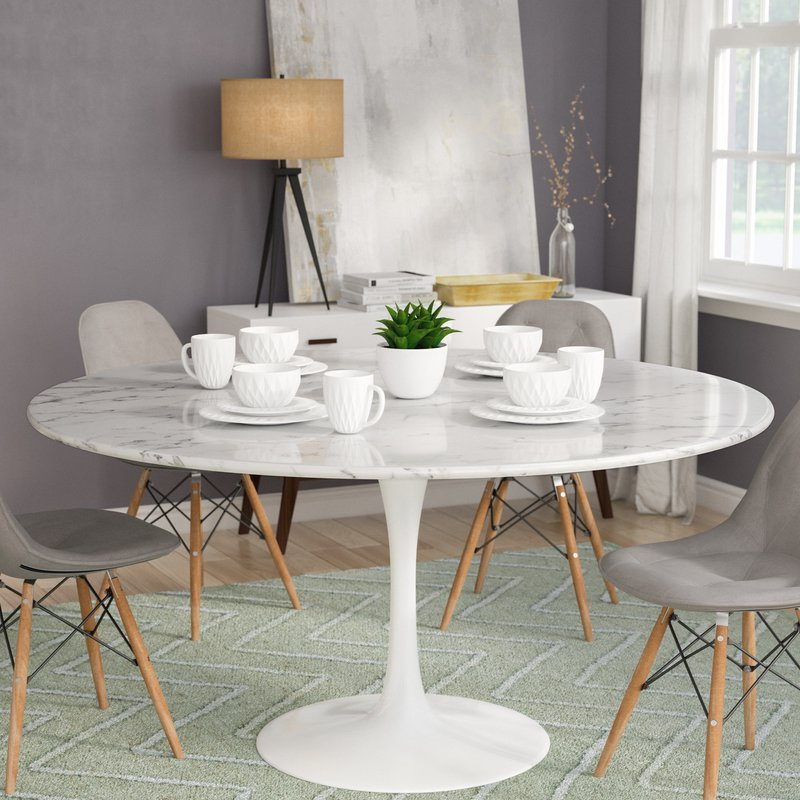 Well Liked Langley Street Julien Artificial Marble Round Dining Table & Reviews Intended For Round Dining Tables (View 18 of 20)