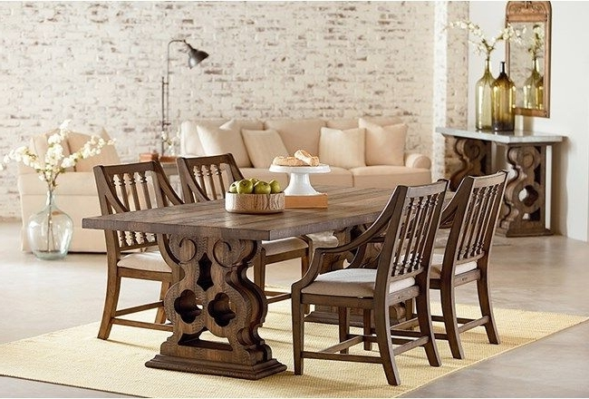 Well Liked Magnolia Home Revival Jo's White Arm Chairs Throughout Magnolia Home Double Pedestal Dining Tablejoanna Gaines (View 15 of 20)