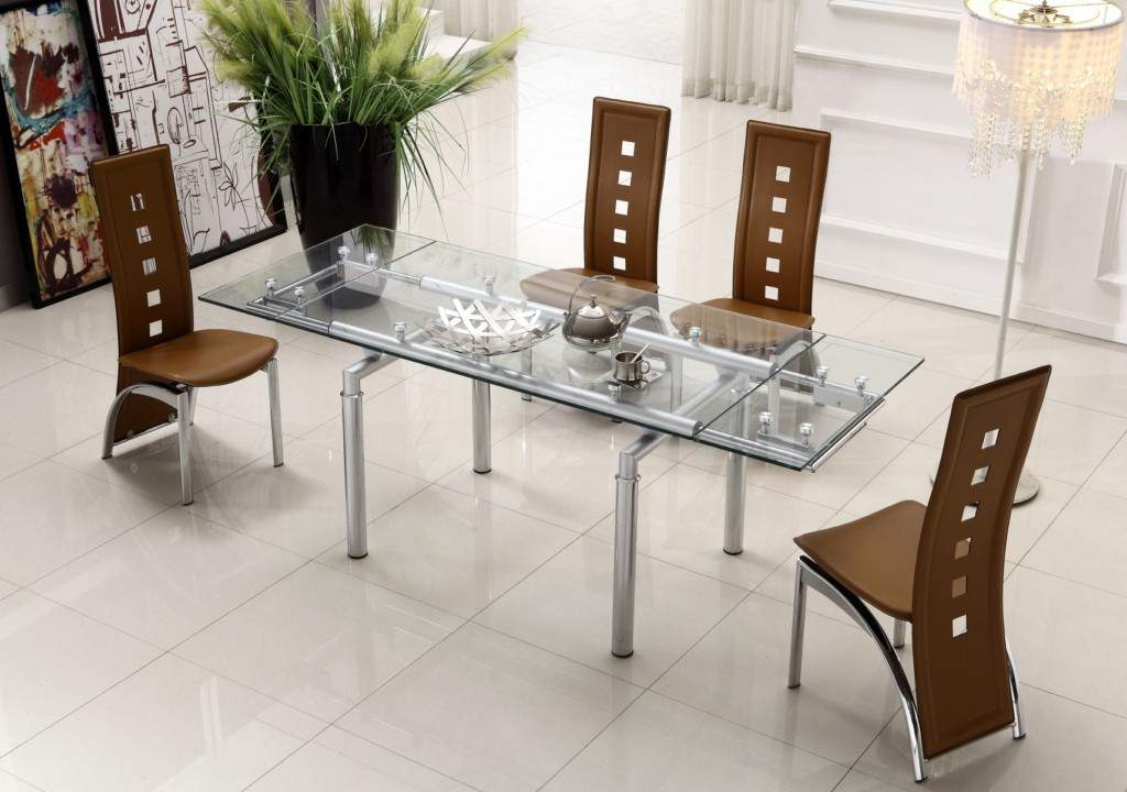 Well Liked Modern Dining Sets Throughout Extendable Clear Glass Top Leather Modern Dining Table Sets (View 4 of 20)