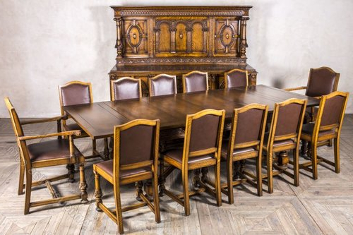 Well Liked Oak Dining Sets Within Edwardian Oak Dining Set Sideboard Extending Table – Antiques Atlas (View 20 of 20)