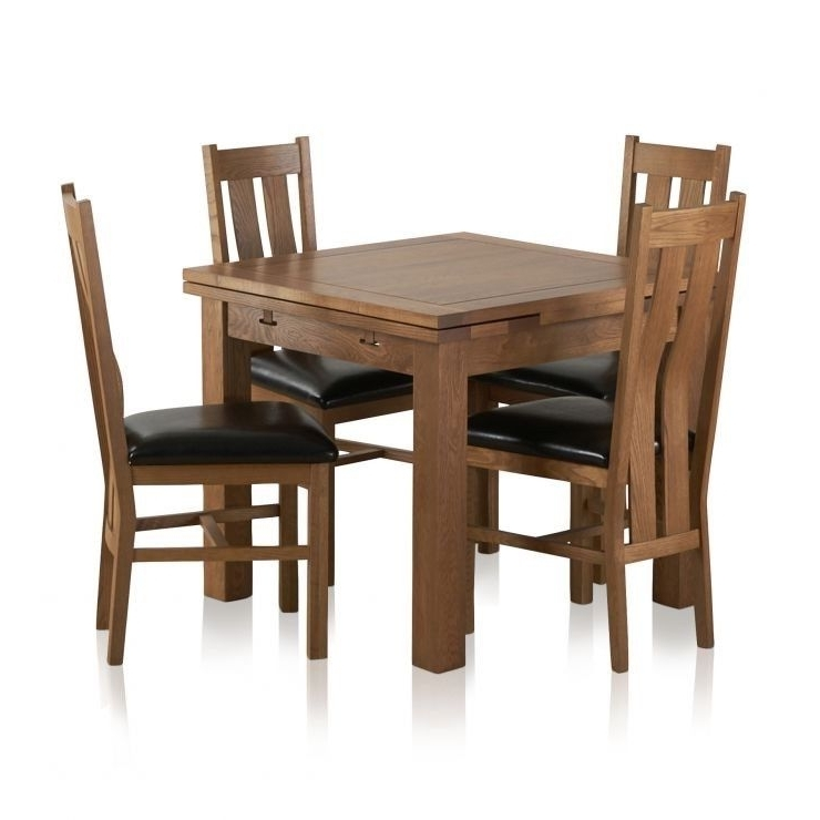 Well Liked Oakland Sherwood Rustic Solid Oak 3Ft Dining Table With 4 Chairs Intended For 3Ft Dining Tables (View 4 of 20)