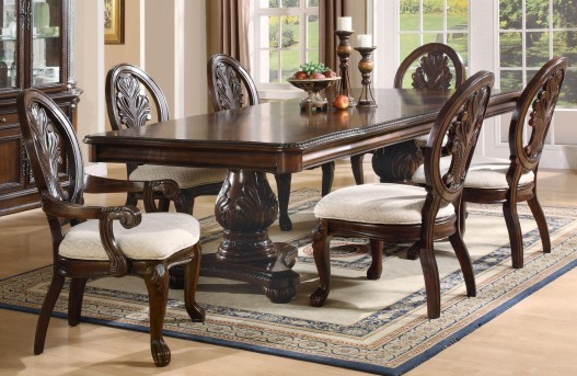 Well Liked Pedestal Dining Tables And Chairs Inside Coaster Tabitha 7Pc Double Pedestal Dining Table Set Dallas Tx (Gallery 16 of 20)