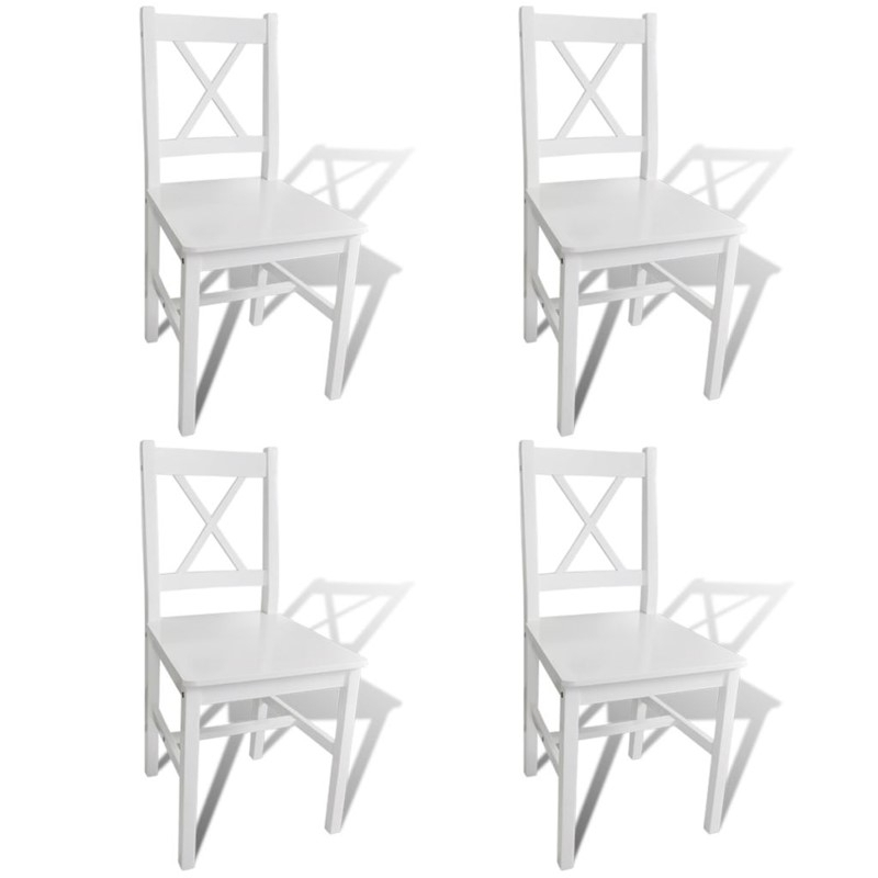 Well Liked Pine Wood White Dining Chairs Intended For Vidaxl 4X Dining Chair Pinewood White Cafe Stool Seat Room Kitchen (View 19 of 20)