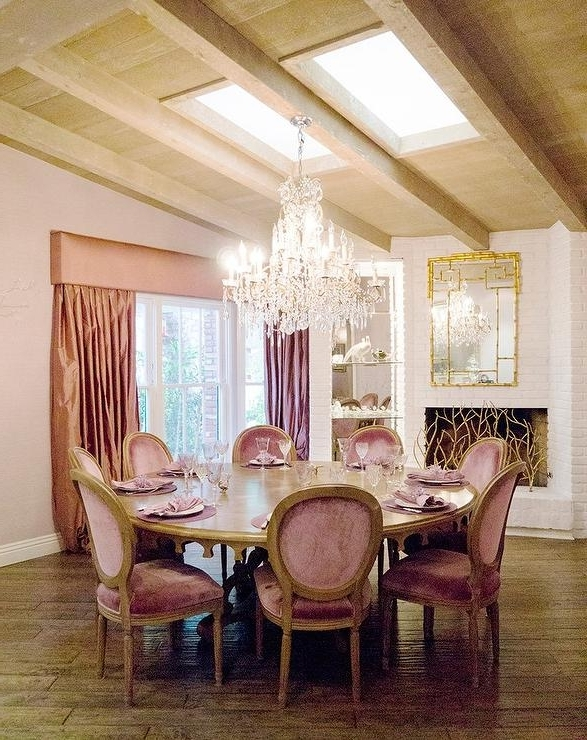 Well Liked Pink French Dining Rooms – Transitional – Dining Room Intended For Kyle Side Chairs (View 12 of 20)