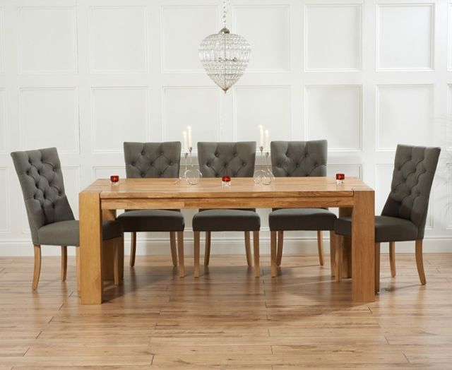Well Liked Provence Oak Furniture Xl Dining Table With 10 Grey Chairs Dining Inside Dining Tables With Grey Chairs (View 2 of 20)