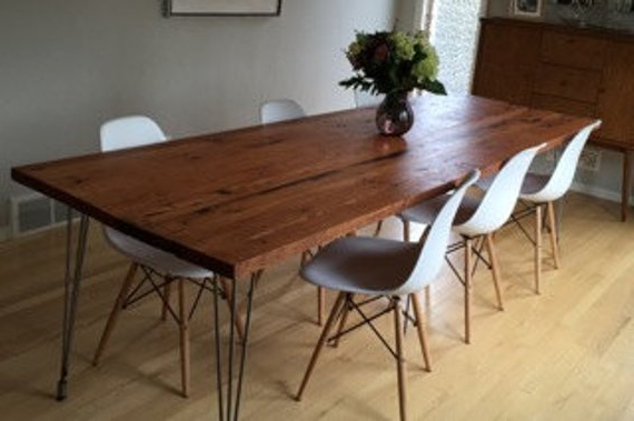 Well Liked Reclaimed Wood Dining Table With Hairpin Legs Handmade In (View 8 of 20)