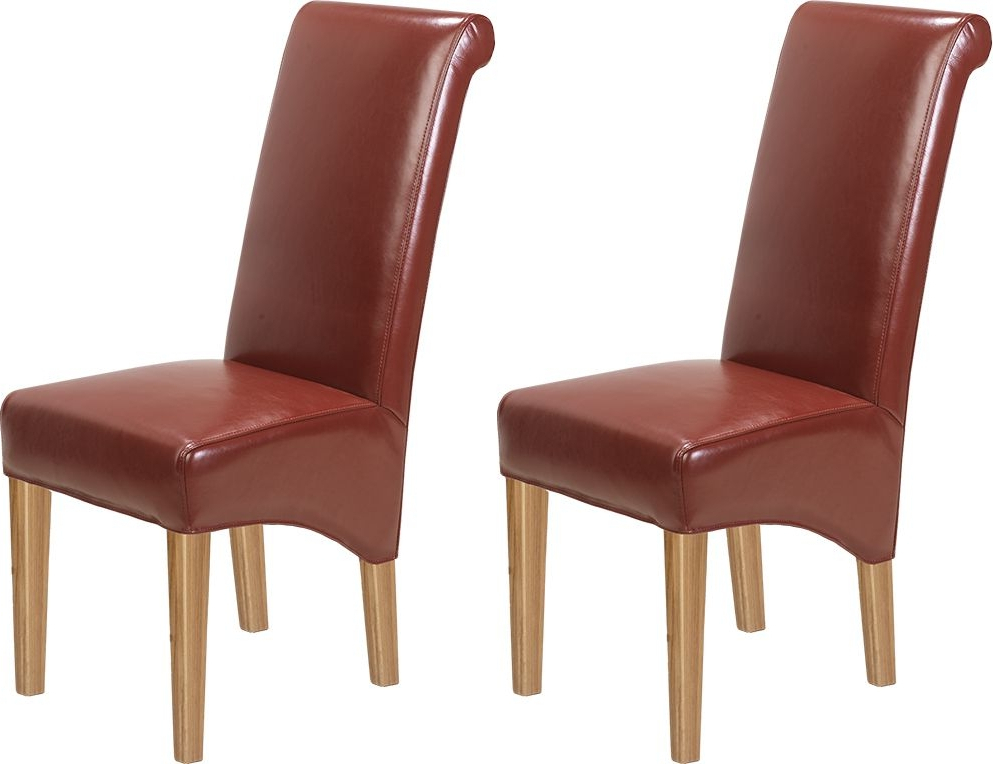 Well Liked Red Leather Dining Chairs Pertaining To Buy Carlota Solid Oak Bonded Red Leather Dining Chair (pair) Online (View 10 of 20)