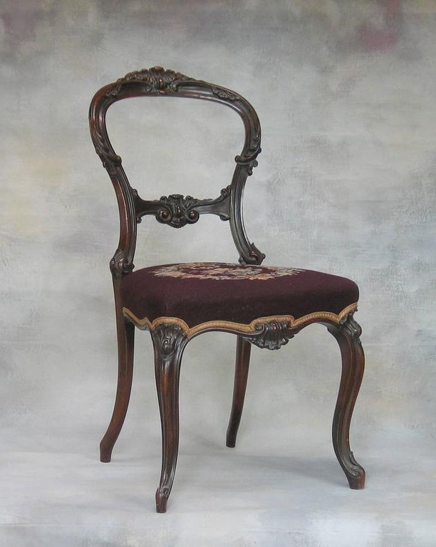 Well Liked Rocco Side Chairs Regarding Mid Victorian Rocco Revival Rosewood Side Chair With Needlepoint (View 13 of 20)