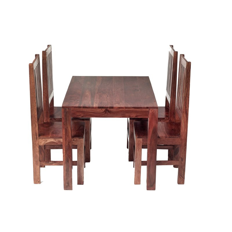 Well Liked Sheesham Dining Tables And 4 Chairs In Prestington Cube Sheesham Dining Table And 4 Chairs & Reviews (View 20 of 20)