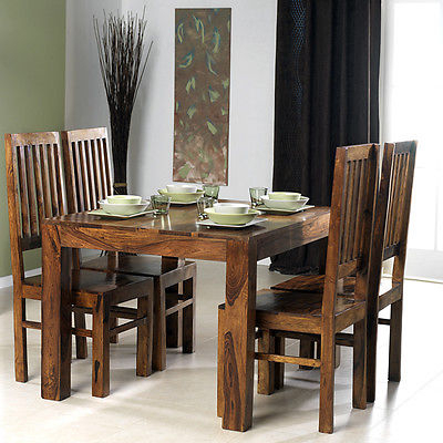 Well Liked Sheesham Dining Tables And Chairs For Cuba Solid Sheesham Chunky Wood Square Fixed Dining Table With  (View 20 of 20)