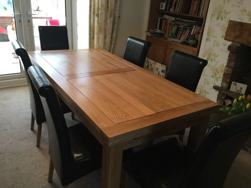 Well Liked Solid Oak Dining Table And Six Leather Chairs (Gallery 12 of 20)
