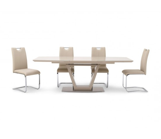 Well Liked Valente Extending Cream High Gloss Dining Table With 6 Gabi Chairs With Cream Gloss Dining Tables And Chairs (View 19 of 20)