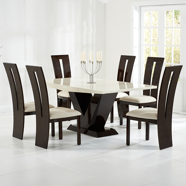 Well Liked Vienna Cream And Brown Marble Dining Table – Robson Furniture In Vienna Dining Tables (View 14 of 20)