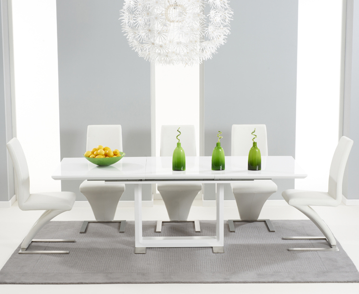 Well Liked White 8 Seater Dining Tables Pertaining To Bianco 160Cm White High Gloss Extending Dining Table With Hampstead (View 19 of 20)