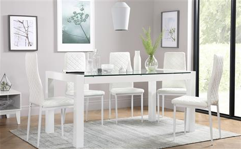 Well Liked White Dining Tables With 6 Chairs Throughout Venice White High Gloss And Glass Dining Table And 6 Chairs Set (View 15 of 20)